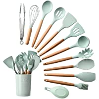 Kitchen Utensils, Silicone and Wood handle Heat-Resistant Non-Stick Cooking Tools Set of 11 with a Plastic Holder, Turner, Whisk, Spoon,Brush,Spatula, Ladle, Slotted turner, Tongs Pasta Fork,Brush (Green)