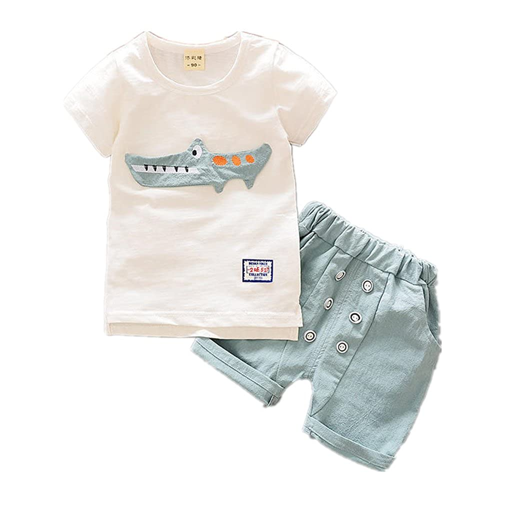 Baby Clothing Boys Short Sleeve O Neck T-Shirt Tops + Casual Shorts 2Pcs Suits