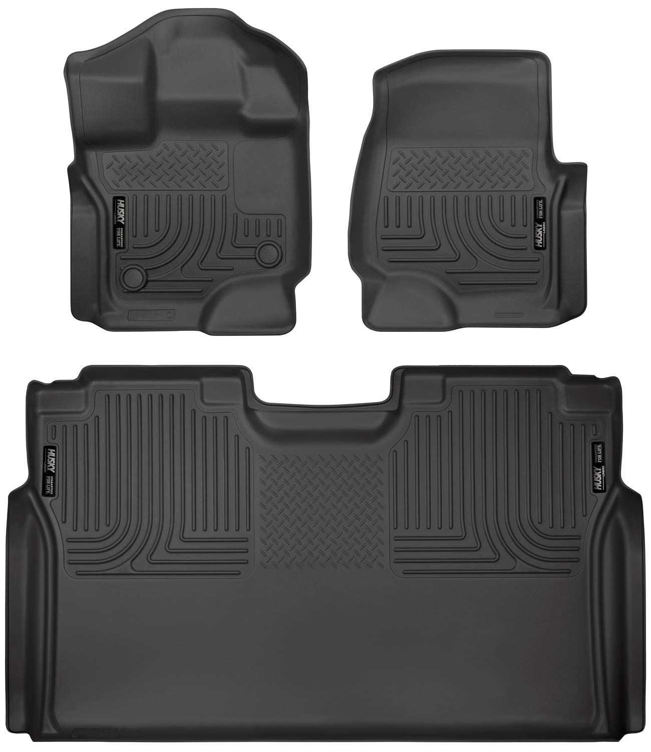 Husky Liners 94041 Weatherbeater Combo Set Black Front and 2nd Seat Floor Liners Fits 2015-19 Ford F-150 SuperCrew by Husky Liners
