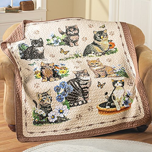 Kitty Cat Meow Paw Prints Charming Quilted Colorful Throw