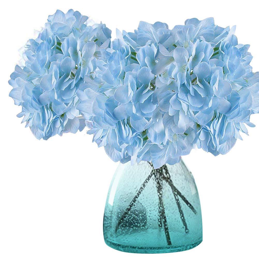 MEIWO Künstliche Blumen, 2 Pcs Real Touch Latex Künstliche Hydrangea Seide Blumen in Vasen für Hochzeit Dekor/Home Dekor/Party / Graves Arrangement(Blau) MEIWO Künstliche Blumen
