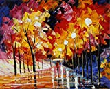 ROAD OF THE NIGHT is an Original Oil Painting on Canvas by Leonid Afremov. Image: 16 x20. Gallery Retail is $3,500. The artwork is in perfect condition. It is an Original artwork. It is NOT a gicl'e or recreation of the original - Again, it is the OR...