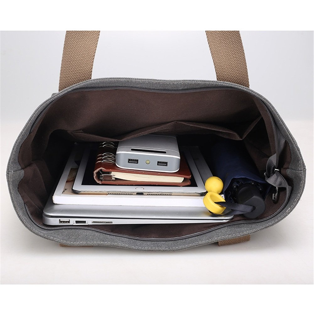 Sunmiao Simple Retro Large Capacity Zipper Waterproof Canvas Shoulder Bag Messenger Bag