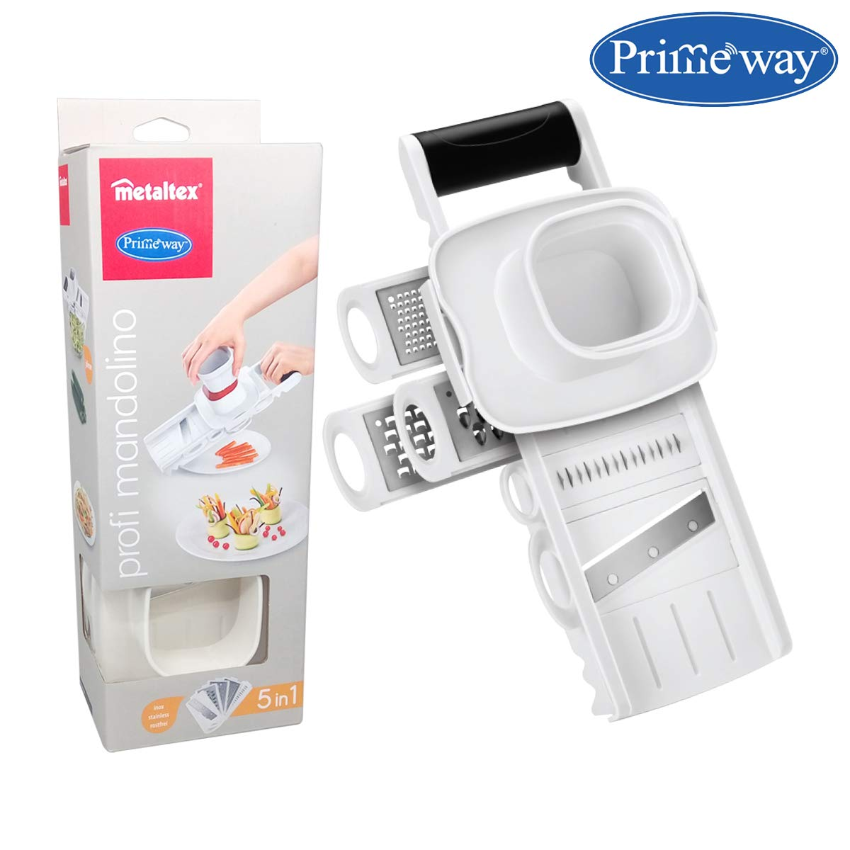 Primeway Metaltex Multipurpose Grater/Slicer 5 in 1 (White)