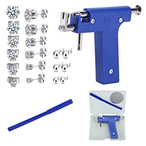Ear Piercing Kit, Nose Piercing Gun Tool Set with 12 Pcs Stainless Steel Stud Earrings for Salon Home Use, Ear Piercing Gun Kit for Nose, Body, Navel
