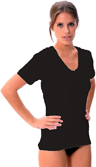 LARA - Camiseta Interior Algodon Manga Corta Mujer: Amazon.es ...