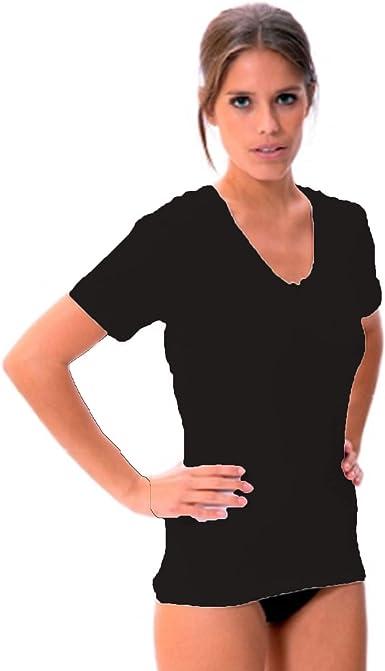 LARA - Camiseta Interior Algodon Manga Corta Mujer: Amazon.es: Ropa y accesorios