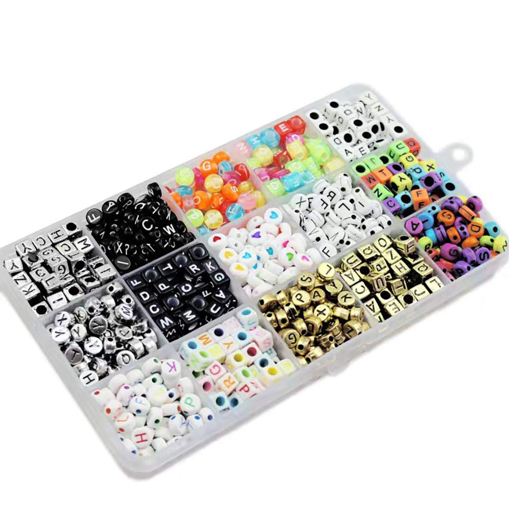 1100pcs 15 Color Acrylic Alphabet Letter Beads with 1 Roll of Crystal String Cord for DIY Kandi Jewelry/Bracelets and Kids Jewelry Early Childhood Toys Making Kit by SPIIIKER