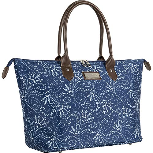 (Chaps Oversized Bag Travel Tote Spring Paisley Navy, One Size)
