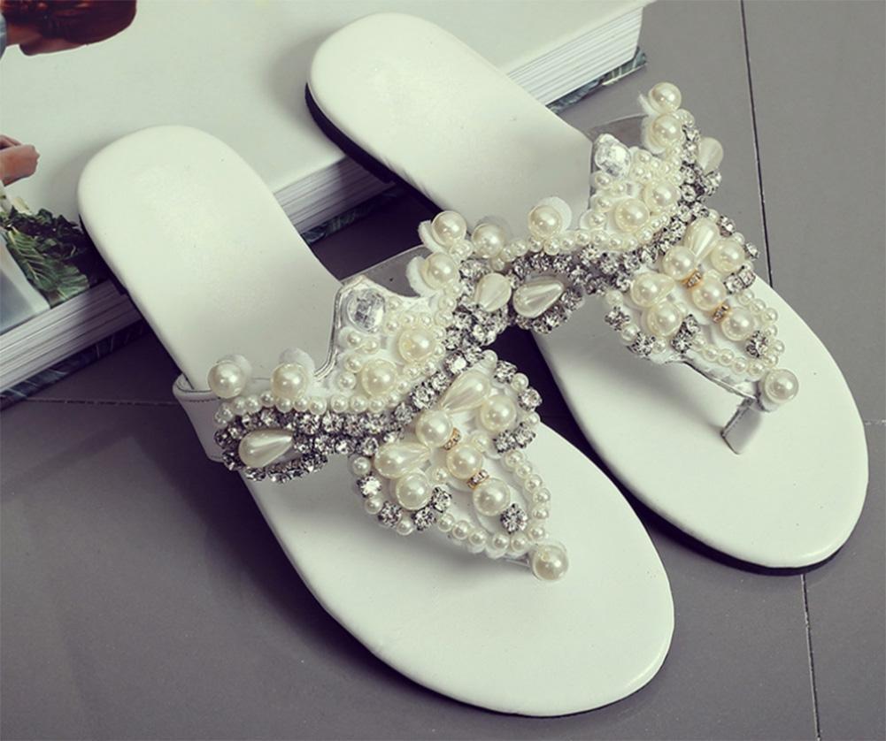 Strass estate sandali infradito piatte e pantofole sandali antisdrucciolevoli femminili femminili antisdrucciolevoli infradito , white , US6.5-7 / EU37 / UK4.5-5 / CN37 White 7f0fe8