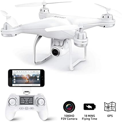 HR H5 GPS Drone with Camera,1080p HD Camera,Foldable Portable,Auto Return Home,Follow Me,Altitude Hold