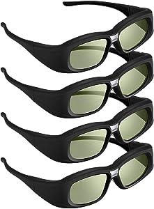 DLP Link 3D Glasses, 4 Pack 144 Hz Rechargeable 3D Active Shutter Glasses for 3D DLP Projectors, Compatible with Acer, ViewSonic, BenQ, Vivitek, Optoma, Panasonic, Dell, Viewsonic
