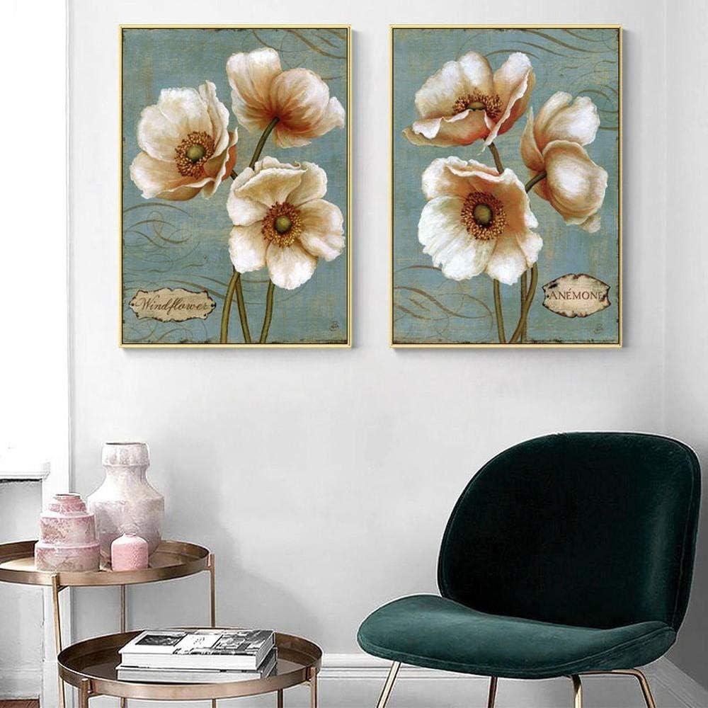 Europea Retro Flores Blancas Lienzo Pintura al óleo Planta Vintage Wall Art Poster Imagen para la Sala Sofá Decoración de Fondo Impresiones 50x70cmx2 Sin Marco