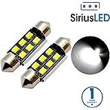 "SiriusLED Super Bright 2835 Chipset Canbus Error Free LED Festoon Bulbs for Car Interior License Plate Dome Courtesy Lights 1.50"" 36MM Festoon 6411 6418 C5W 6000K Xenon White Pack of 2"