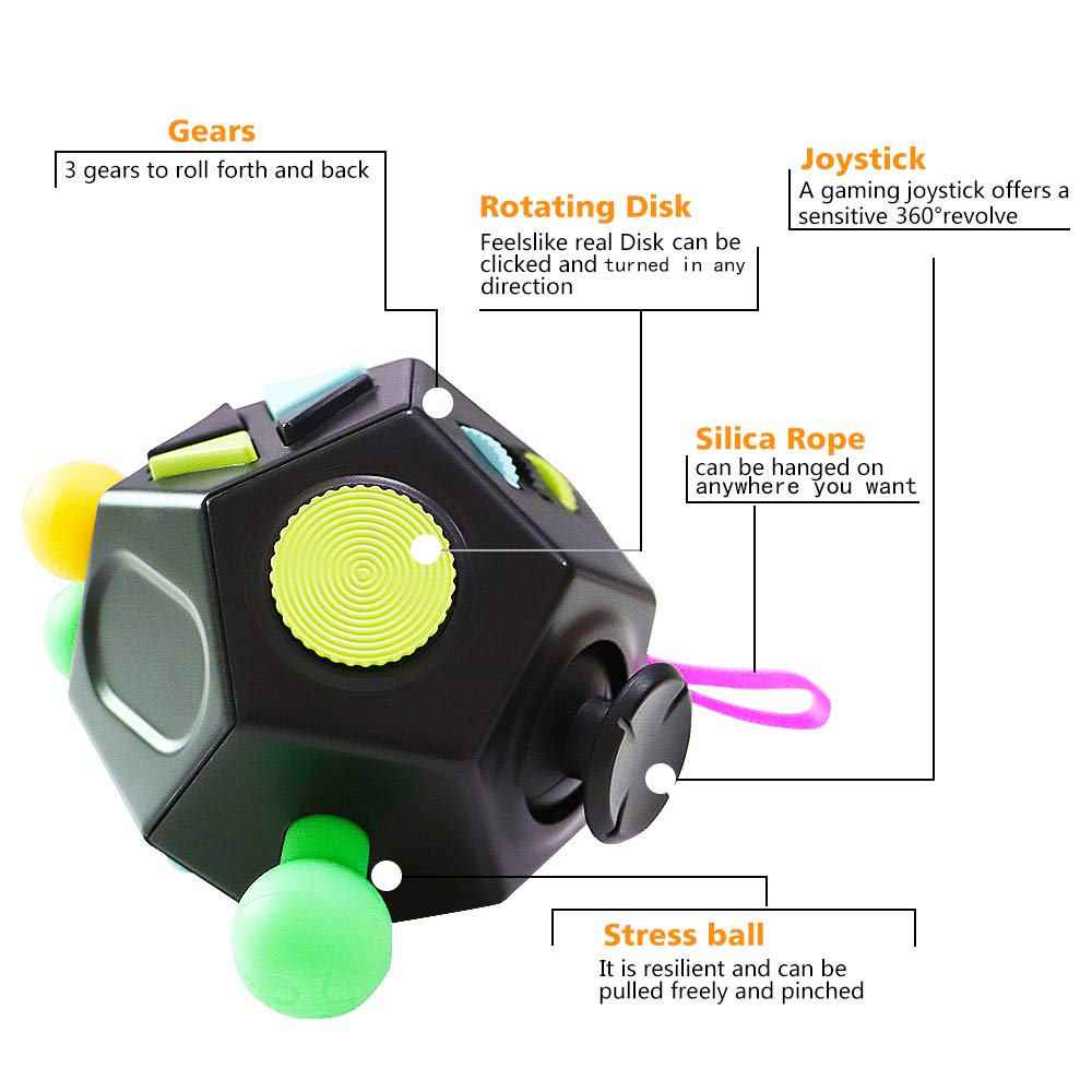 823f394723f39 VCOSTORE 12 Sides Fidget Cube, Stress and Anxiety Relief for All Ages with  ADHD ADD OCD Autism