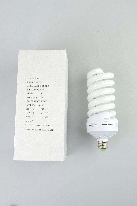 Neewer®Tri-Color 105 Watt 5500 K (Set of 4) Fluorescent Daylight Balanced Full Spectrum Light Bulb for Photography and Video Lighting(4 Pieces 105 Watt)