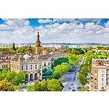 Pitaara Box Seville, Spain Cityscape Towards Plaza De Espana Unframed Canvas Painting 60 x 40inch