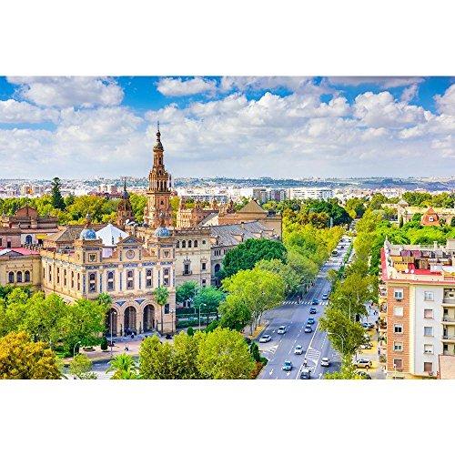 Pitaara Box Seville, Spain Cityscape Towards Plaza De Espana Unframed Canvas Painting 60 x 40inch by Pitaara Box