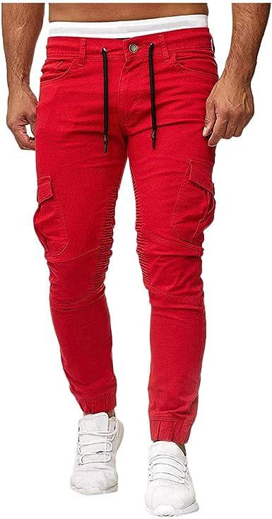Banaa Pantalones Elasticos Para Hombre Slim Fit Ligeros Modernos Con Bolsillos Laterales Pantalones Personalidad Bolsillos Entrelazados Sweatpants Splicing Estrechos En El Tobillo Rojo Xxl Amazon Es Ropa Y Accesorios
