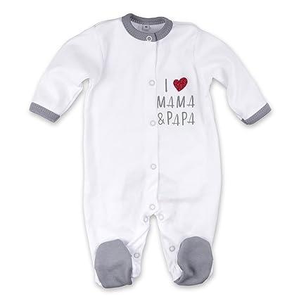 Baby Pelele Blanco Gris | Diseño: I love Mama & Papa | Marca: Baby