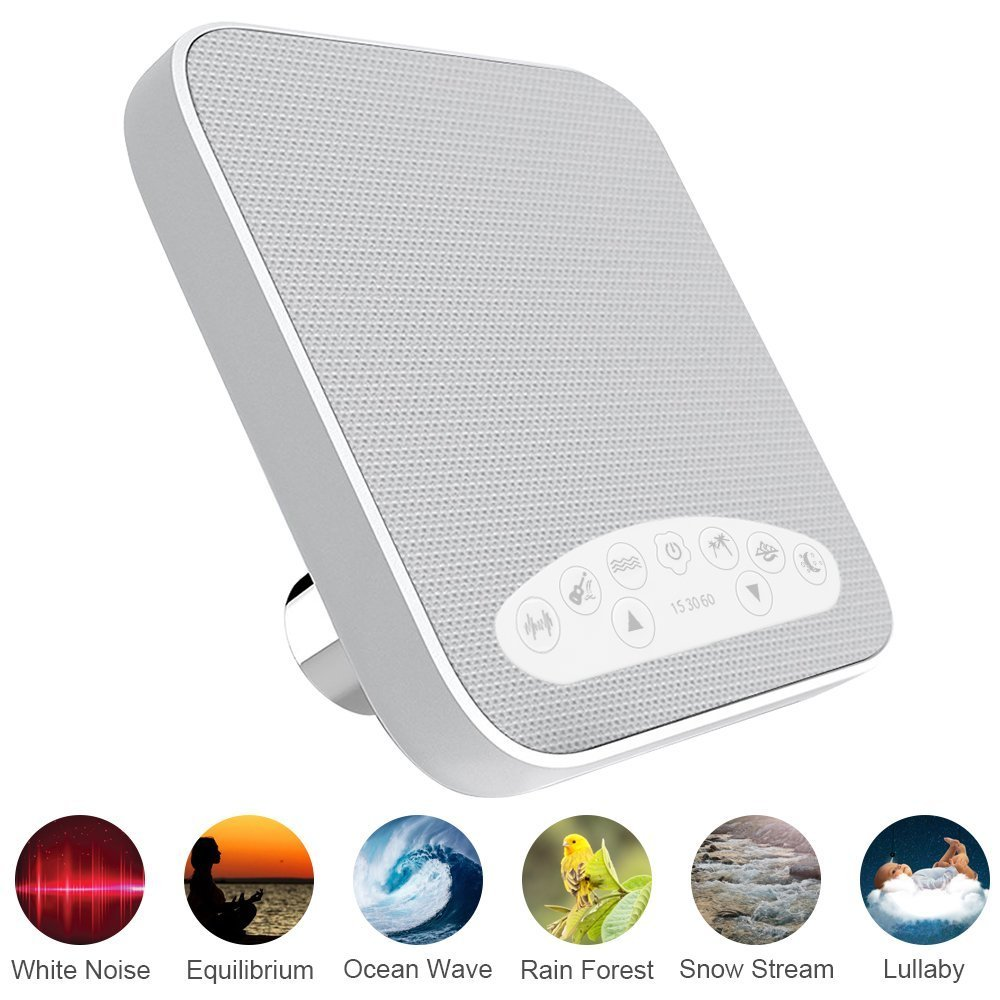 White Noise Machine,2018 Upgraded Sleep Sound Machine, Sound Therapy Machine with 3 Timers & 6 Natural Sounds, Ideal for Tinnitus Sufferers, Light-Sleepers, Babies etc. by KEY IDEA (White)