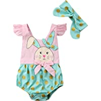 Muasaaluxi 新生女婴复活节连身衣飞袖兔子连体衣头带夏季服装 0-18 个月