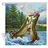 Bass Fishing Shower Curtain NYMB Shower Curtain Fish Theme, Natural Forest River Art Painting Outdoor Bass Fishing Decor Shower Curtain for Bathroom, Waterproof Fabric Shower Curtain with 12PCS Hooks, 69X70in