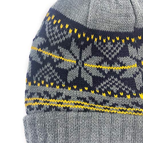 219f6a9d16495 accsa Men Winter Warm Jaquard Snow Flake Pattern Rib Knit Pom Beanie Scarf  Valentines Gifts
