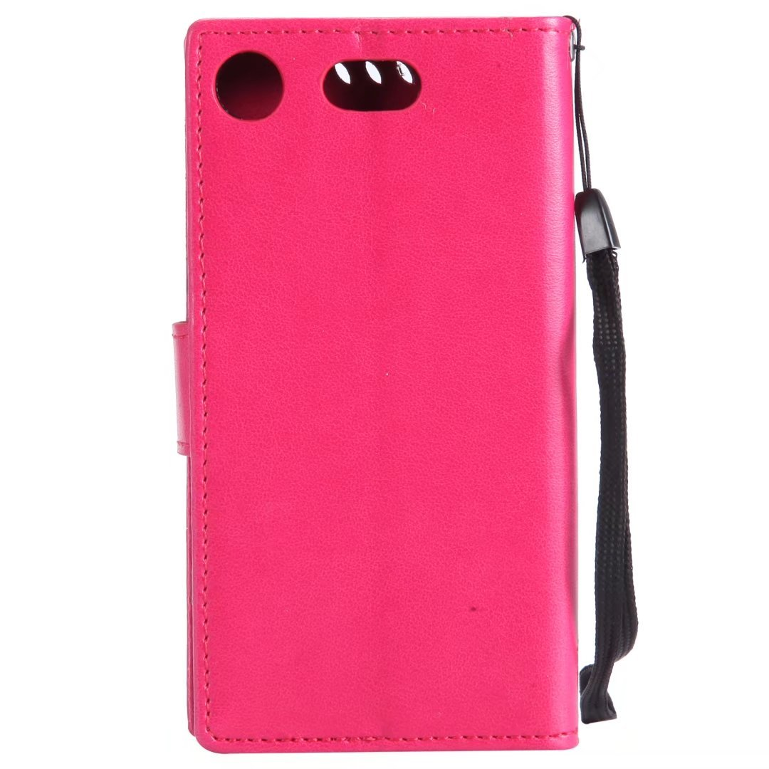 For Sony Xperia XZ1 Compact Case Ougger Premium PU Leather Flip Stand Wallet Cover Magnetic Protective Soft TPU Bumper Case for Sony Xperia XZ1 Compact with Card Slot Red Cat /& Tree