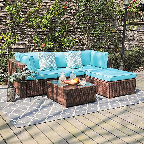 OC Orange-Casual 5 Piece Outdoor Furniture Sectional Sofa, Patio Brown PE Rattan Wicker Sofa with Turquoise Cushions & Modern Glass Coffee Table & Ottoman, Garden, Backyard, Pool ()