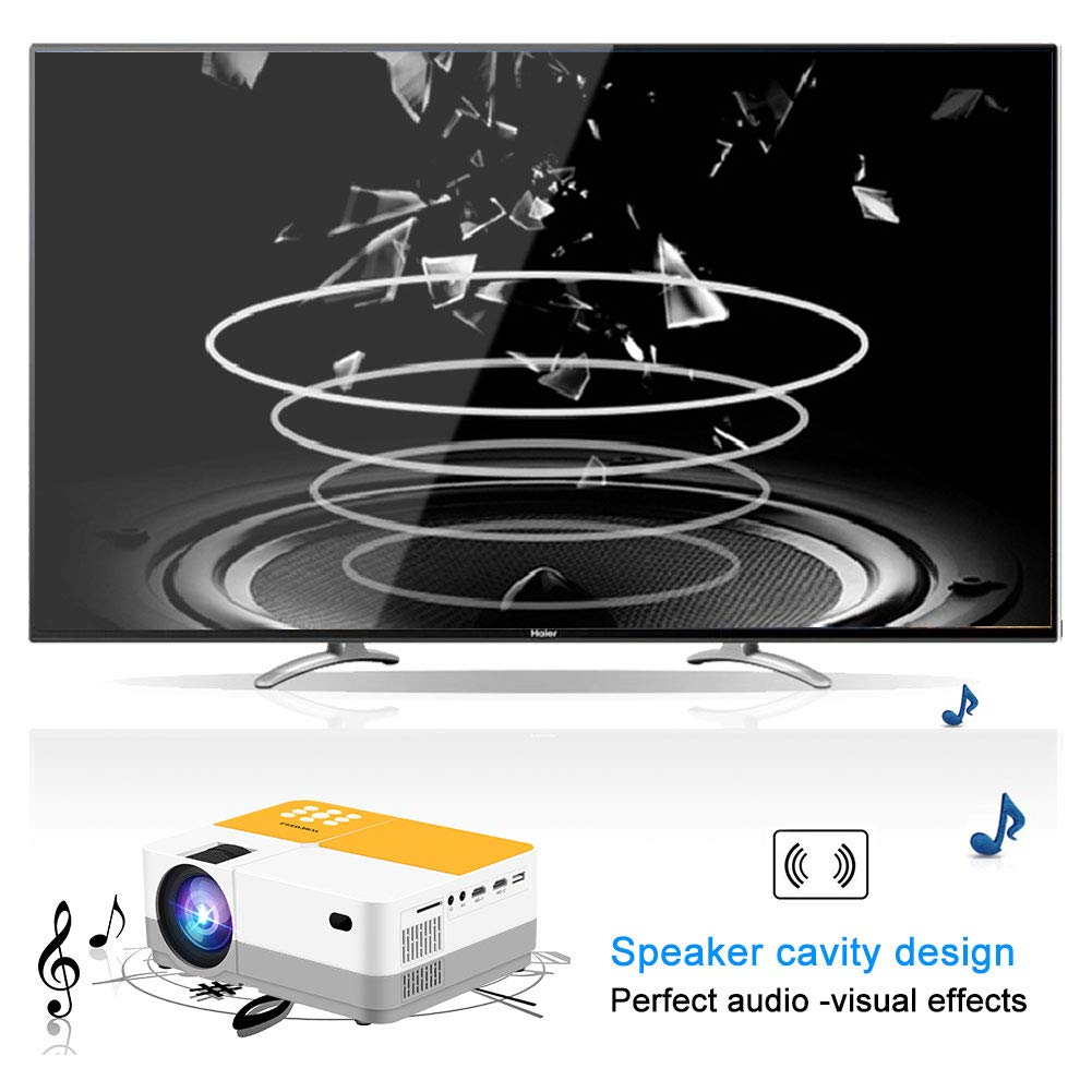 TUREWELL H3 Projector Video Projector 3600 Lumens Native 720P LCD Mini Projector 180'' 55000 Hours Support 2K HDMI/VGA/AV/USB/SD Card/Headphone Compatible with Fire TV Stick/Home Theater/PS4 by TUREWELL (Image #5)