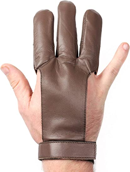 Handmade Leather  Archery Three Finger Recurve Gloves Excellent Fitting