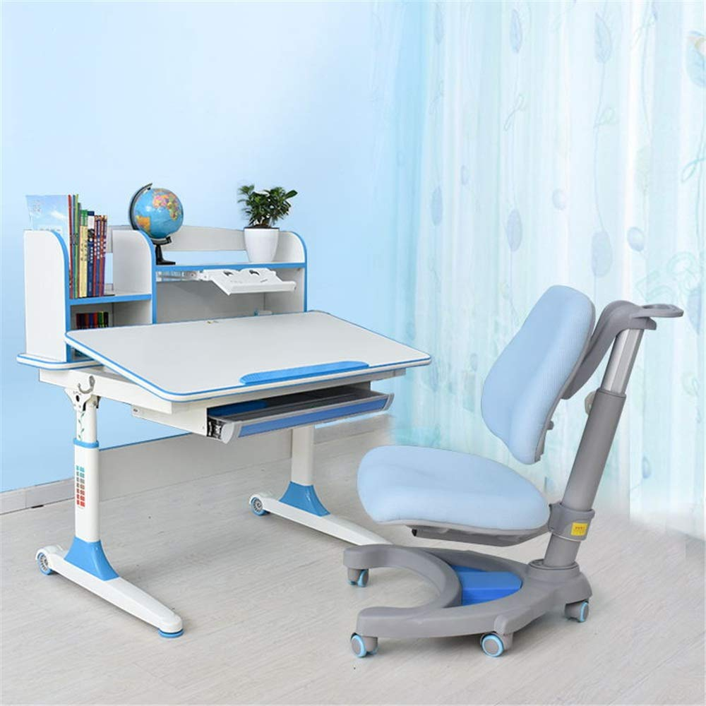 DERTHWER Kids' Desk & Chair Sets Childen Study Desk and Chair Set Kids School Student Book Stand Height Adjustable Perfect for Kids' Rooms Or Study Areas (Color : Blue 2) by DERTHWER