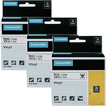 """3PK 18443 Black on White IND Vinyl Label Tape 3//8/"""" x 18/' for DYMO LabelMaker"""