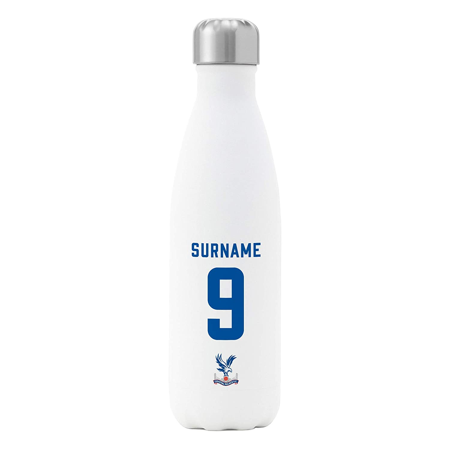 White Official Personalised Crystal Palace FC Back of Shirt Insulated Water Bottle