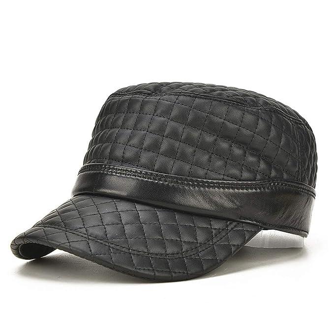 L.Z.H 2019 Primavera y otoño Nuevo Negro cálido de Cuero Gorras Planas para Hombre Cabeza Fina de Piel de Oveja Bordado Gorra de béisbol Organizador Hat ...