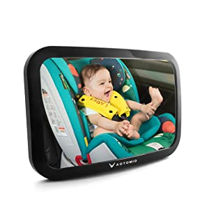 Baby Backseat Rear View Mirror AUTOMIO Baby Mirror for Car Adjustable Acrylic Rear View Baby Mirror with Clip and Sucker