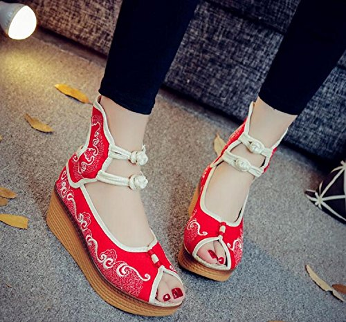 Lazutom Women Lady Summer Vintage Chinese Style Embroidery Comfortable Platform Wedges Casual Summer Sandals Red 8i53qO