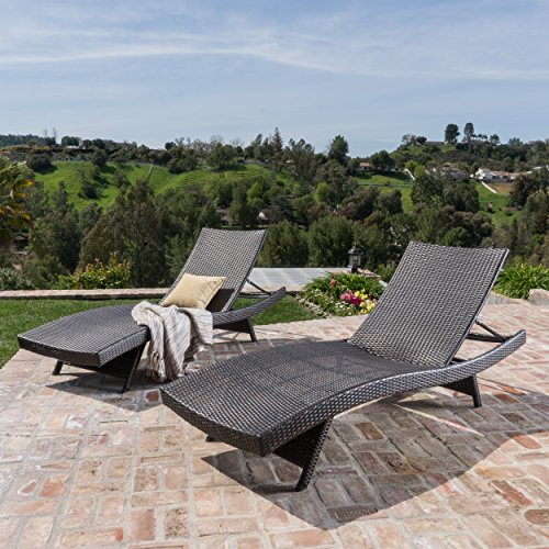 Chaise Aluminum Lounges - Outdoor Wicker Chaise Lounge Chair by Lakeport Patio Furniture – Rust-Proof Aluminum Frame, Elegant & Modern No-Arm Danish Wave Design, Mixed Mocha Weave, 2 pack