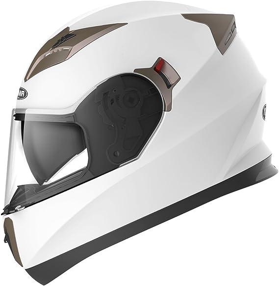 Casco Moto Integral ECE Homologado - YEMA YM-829 Casco de Moto Scooter para Mujer Hombre Adultos con Doble Visera -Blanco-XL