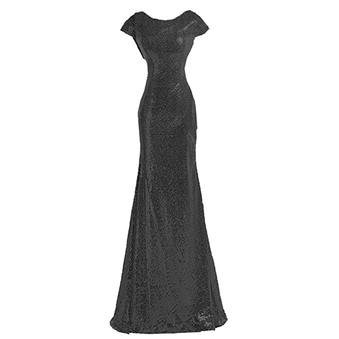 23068991f0fb Image Unavailable. Image not available for. Color: Sparkly Black Sequin  Cheap Bridesmaid Dresses Formal Gowns ...
