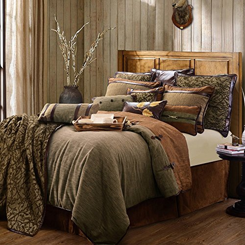 HiEnd Accents LG1860-SK-OC Bedding Set, Super King, Brown (Super King Sets Bedding)