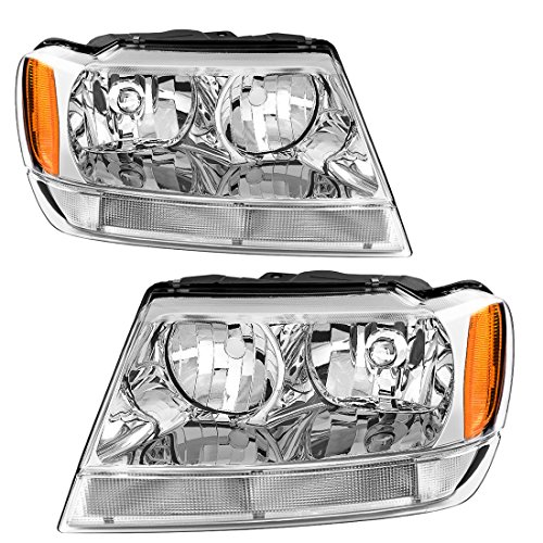 For 99 00 01 02 03 04 Jeep Grand Cherokee Headlight Assembly Replacement,OE Headlamp Amber Reflector Chrome Housing