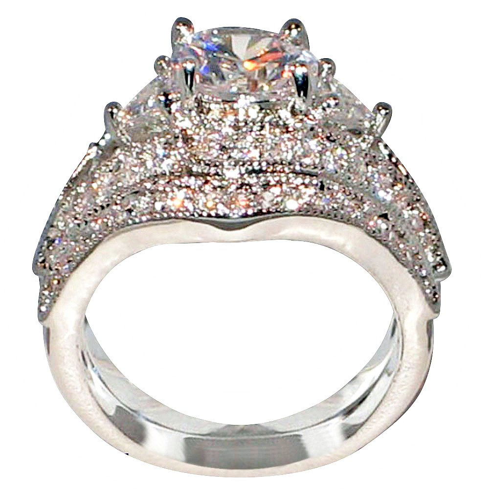 Antique Style Queen Victoria 2.94 Ct. Cz Cubic Zirconia Engagement Bridal Wedding 2 Pc. Ring Set (Center Stone 2 Cts.) (9)