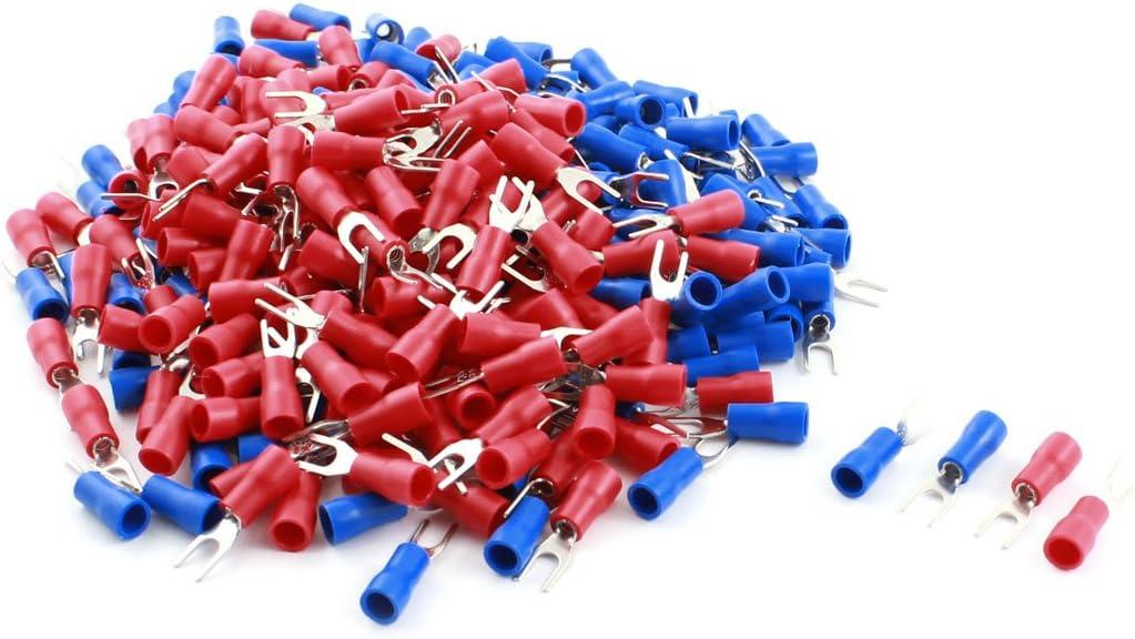 sourcingmap/® Bleu 300 x Cosse Fourche isol/ées Connecteur Rouge 4 mm pour Fil 22-16AWG