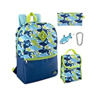 Boy's 5 in 1 Full Size Backpack Set (Sharks)