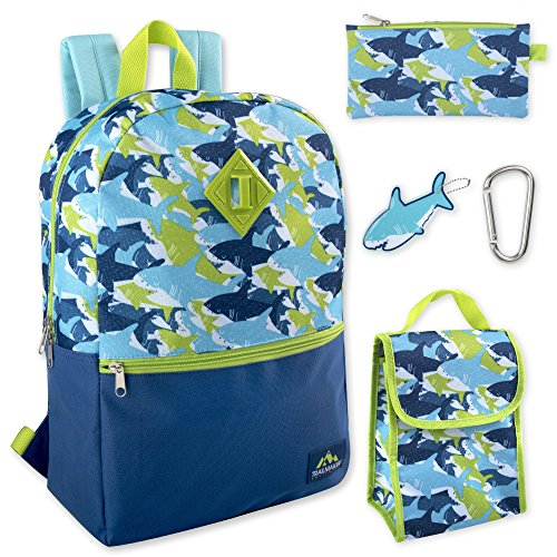 Boy's 5 in 1 Full Size Backpack Set (Sharks) -