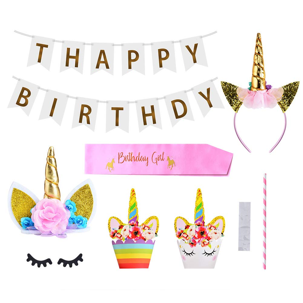 Queta Unicornio Decoracion Cumpleaños Tartas Fiesta Decoraciones para Niños Chicas Fiesta de Cumpleaños Baby Shower 30 Piezas