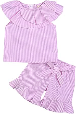 YOUNGER TREE 2Pcs Toddler Baby Girls Summer Outfits Doll Collar Shirt Tops+Ruffle Bowknot Shorts Clothes Set