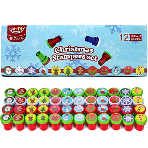 JOYIN 48 Pieces Christmas Assorted Stamps Kids Self-Ink Stampers (12 Different Designs, Plastic Stamps) for Christmas…
